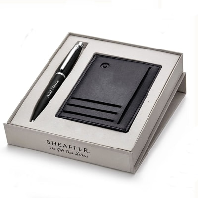Sheaffer Luxury Pen And Credit Card Holder Gift Set - Customised with Name