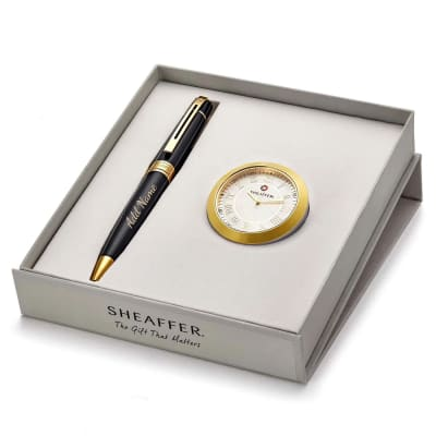 Sheaffer Luxury Pen And Table Clock Gift Set - Customised with Name