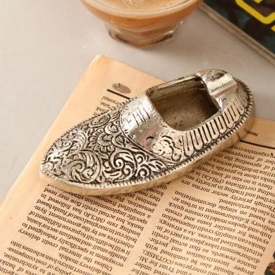 Shoe Shaped White Metal Ashtray