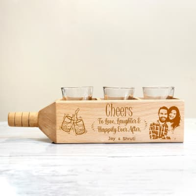 Shot Glasses in Personalized Bottle Shaped Wooden Holder