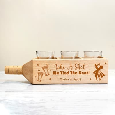 Shot Glasses in Wedding Themed Personalized Wooden Holder