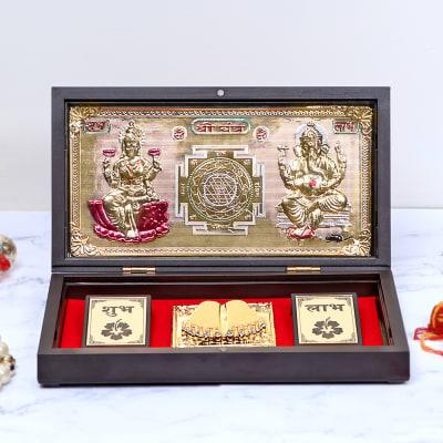 Shree Yantra and Lakshmi-Ganesha with Charan Paduka in Wooden Box
