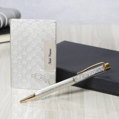 Silver 2 In 1 Personalized Gift Set. Personalized Pens For Father S Day Order Send Personalised Diary