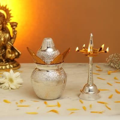 Silver & Gold Plated Kalash with Diya