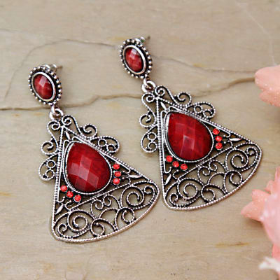 Silver Oxidised Red Stone Earrings