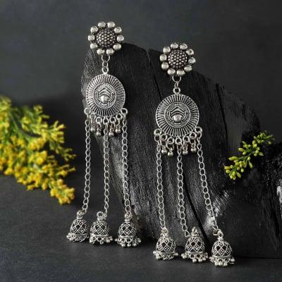 Silver Oxidized Matte Finish Dangler Earrings
