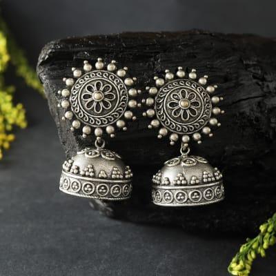 Silver Oxidized Matte Finish Jhumka Earrings