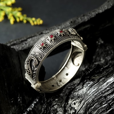 Silver Oxidized Matte Finish Kada Bangle