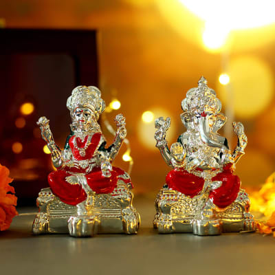 Silver Plated Colorful Laxmi Ganesha in Gift Box