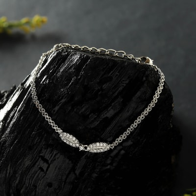 Silver Plated White CZ Stones Studded Women's Bracelet