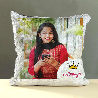 Silver Sequin Personalized Magic Pillow