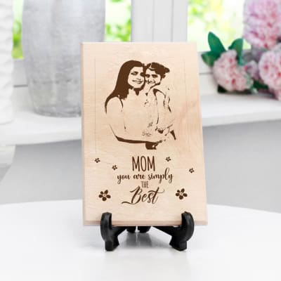 Simply the Best Mom Personalized Wooden Plaque (Small)
