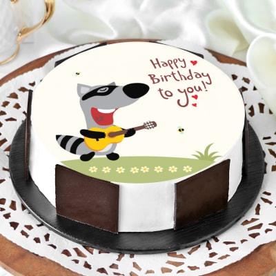 Singing Racoon Birthday Cake (Eggless) (1 Kg)