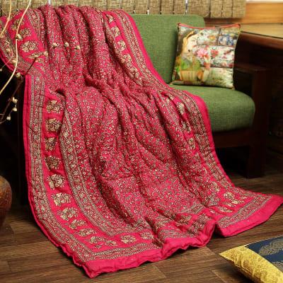 Single Bed Quilt with Rajasthani Sanganeri & Block Print Work