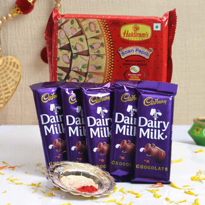Soan Papdi 500 Gms With Roli Chawal & Cadbury Dairy Milk Chocolate