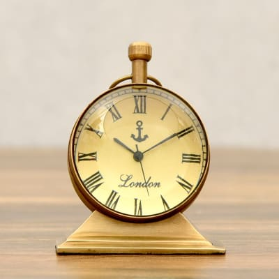 Solid Brass Antique Finish Globe Table Clock