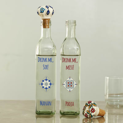 Spectacular Glass Bottle Set with Hand Painted Ceramic Stopper