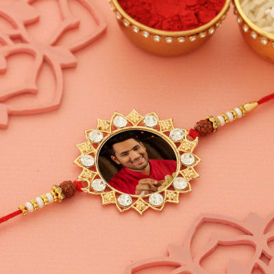 Splendid Personalized Rakhi Designed with white stones