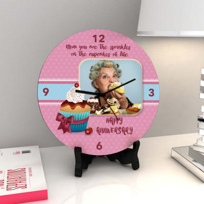 Sprinkles on Cupcakes Personalized Anniversary Clock