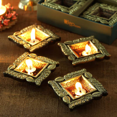 Square  Clay Diyas in Oxidized Metallic Paint- Set of 4