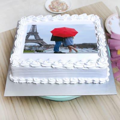 Square Shaped Vanilla Personalised Photo Cake (Eggless) (2 Kg)