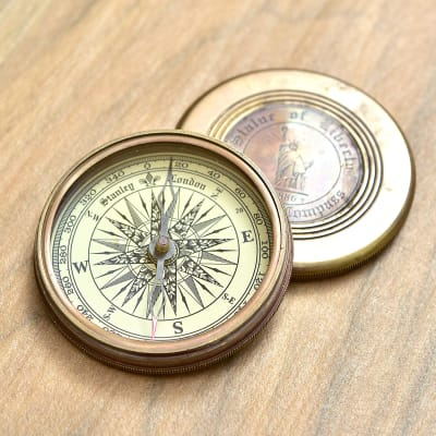 Stanley London Engraved Statue Of Liberty Solid Brass Marine Compass