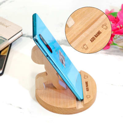 Stick Figure Shaped Personalized Wood Mobile Stand