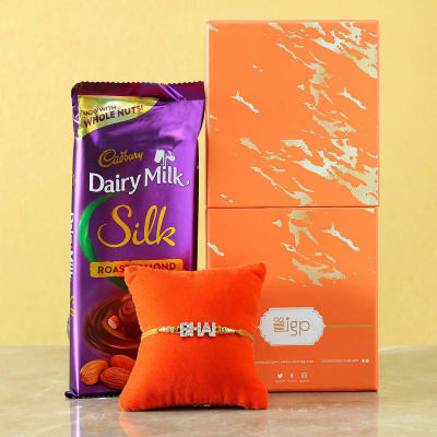 Stone Bhai Rakhi with Cadbury Chocolate Gift Box