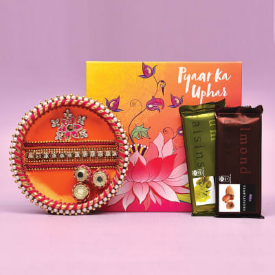 Stone Embellished Tikka Thali with Cadbury Temptation Chocolate Bars