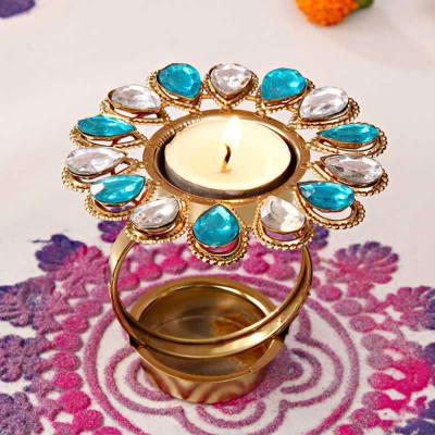 Stone Studded Designer Diwali Diya