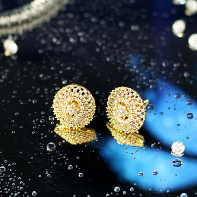 Stone Studded Earrings in Gold Finish