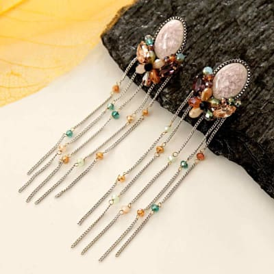 Stone Studded Earrings with Rain Drops Danglers