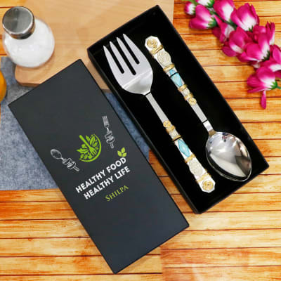Stone Studded Salad Spoons in Personalized Box (Set of 2)