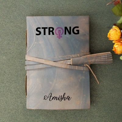 Strong Personalized Journal with Leather Wrap