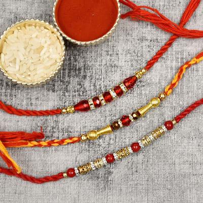 Stunning Crystal Beaded Set of 3 Rakhi