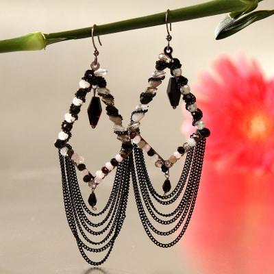 Stylish Black & White Danglers