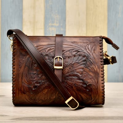 Stylish Brown Leather Handbag For Women