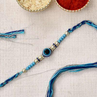 Stylish Evil Eye Beaded Rakhi on Silver Blue Gutthi Moli