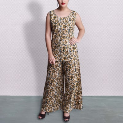Stylish Floral Printed Sleeveless Kurta with Palazzo
