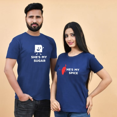 Sugar and Spice Blue T-Shirts for Couples