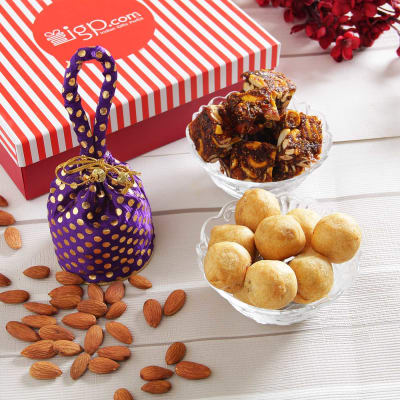 Sugar free sweets health hampers buy sugarless sweetsmithai sugarfree anjeer barfi with almonds mewa kachori in a gift box negle Image collections