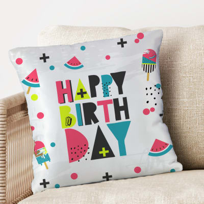 Summer Vibe Pop Colored Birthday Cushion