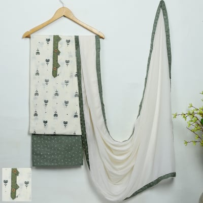 Summery Green Tulips Dress Material