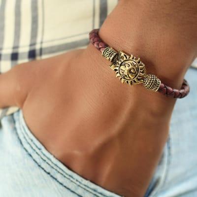 Sun Engraved Oxidised Gold Men's Bracelet
