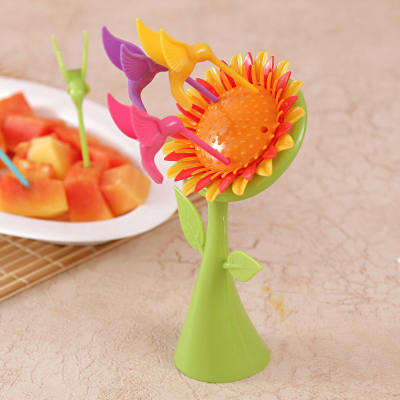 Sunflower Fruit Fork Set with Stand