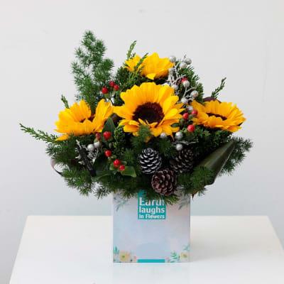 Sunflowers and greenery