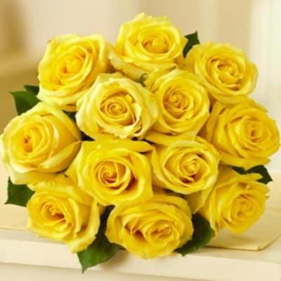 Sunshine - 12 Yellow Roses Bouquet
