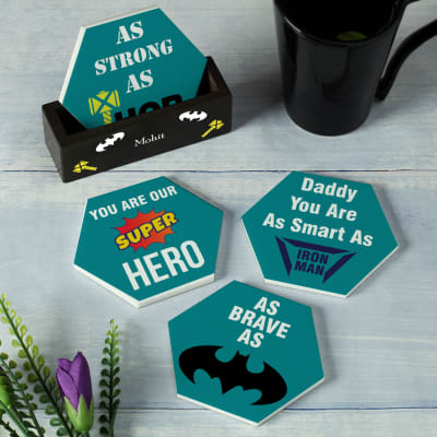 Super Hero Dad Personalized Coasters With Stand