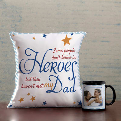 Superhero Dad Cushion & Personalized Mug Hamper