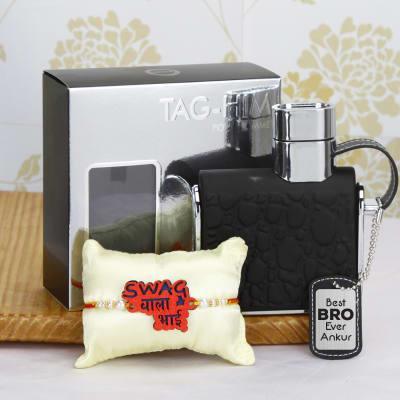 swag rakhi with personalized tag him perfume gift send rakhi gifts